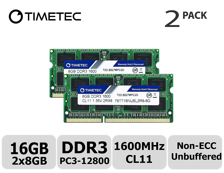 Timetec Hynix IC 16GB Kit (2x8GB) DDR3L 1600MHz PC3-12800 Unbuffered Non-ECC 1.35V CL11 2Rx8 Dual Rank 204 Pin SODIMM Laptop/Notizbuch Arbeitsspeicher Module Upgrade (16GB Kit (2x8GB)) 76TT13