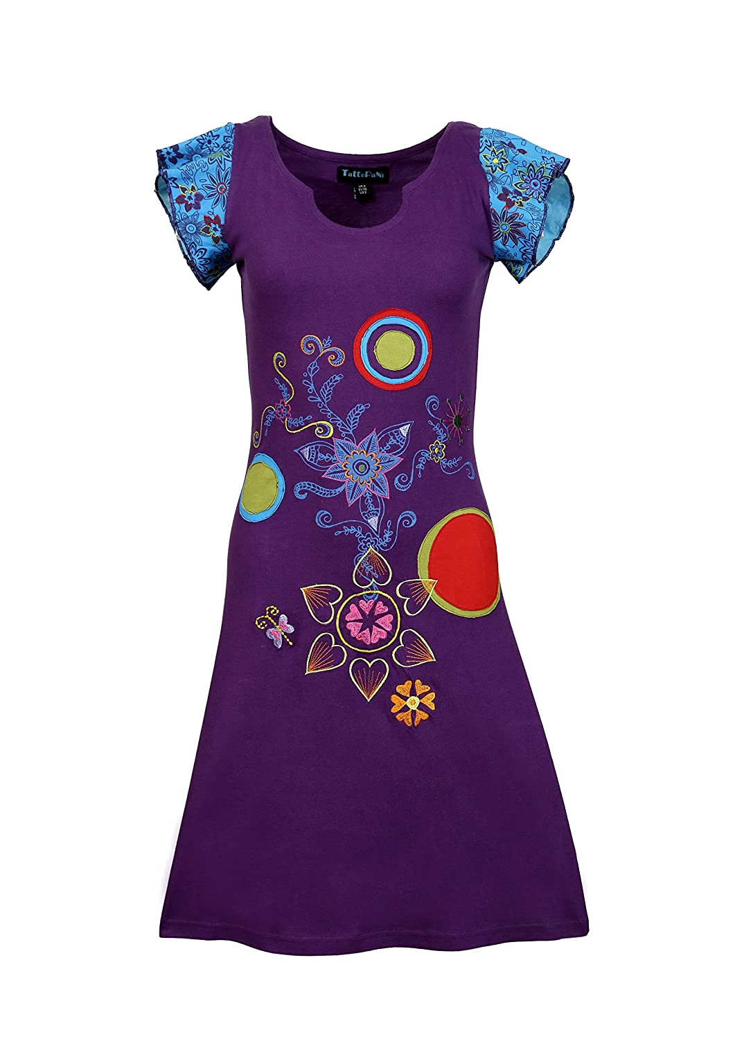 Ladies Short sleeved Multicolored Embroidery and Patch Pattern -Pomelo...