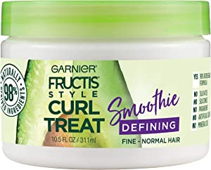 Garnier Fructis Style Curl Treat Defining Smoothie for Fine to Normal Curly Hair, 10.5 Ounce Jar