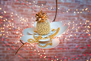 """Desert Steel 409-104 W Magnolia Flower Hanging Bird Feeder-(14""""L x 10""""H x 6"""", Single"""