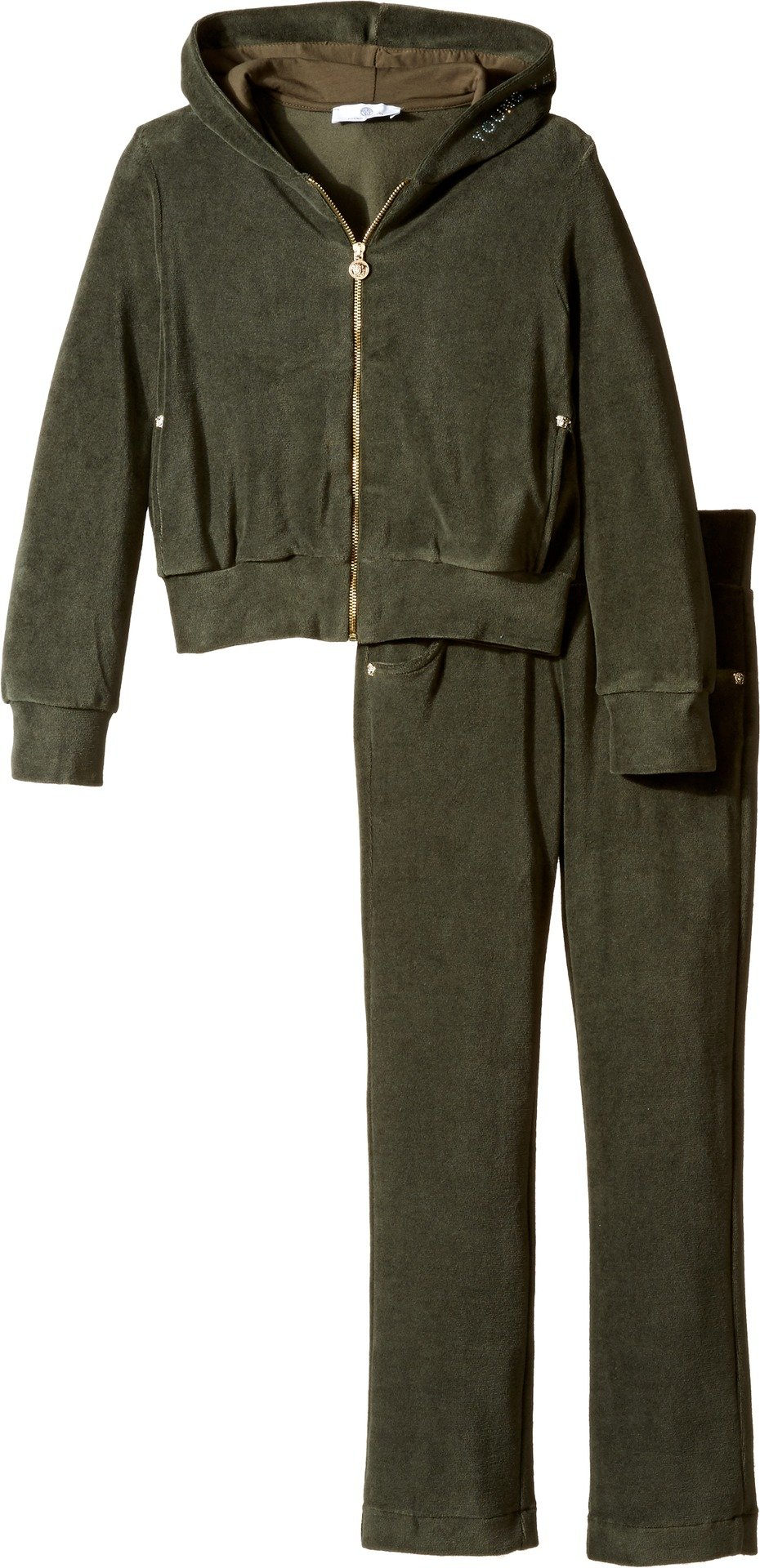 Versace Kids Girl's Velour Track Suit w/ Embellished Medusa Logo (Big Kids) Green/Navy Suit by Versace