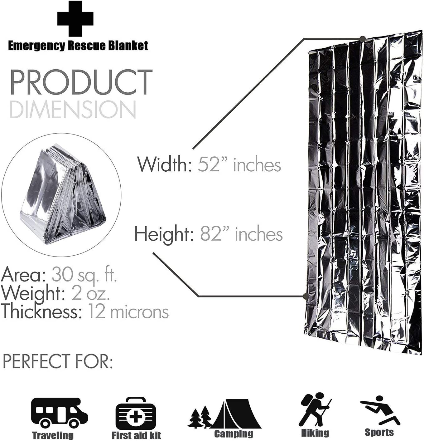 General Medi Emergency Blanket (12-Pack),Emergency Foil Blanket– Perfect for Outdoors, Hiking, Survival, Marathons or First Aid: Home & Kitchen