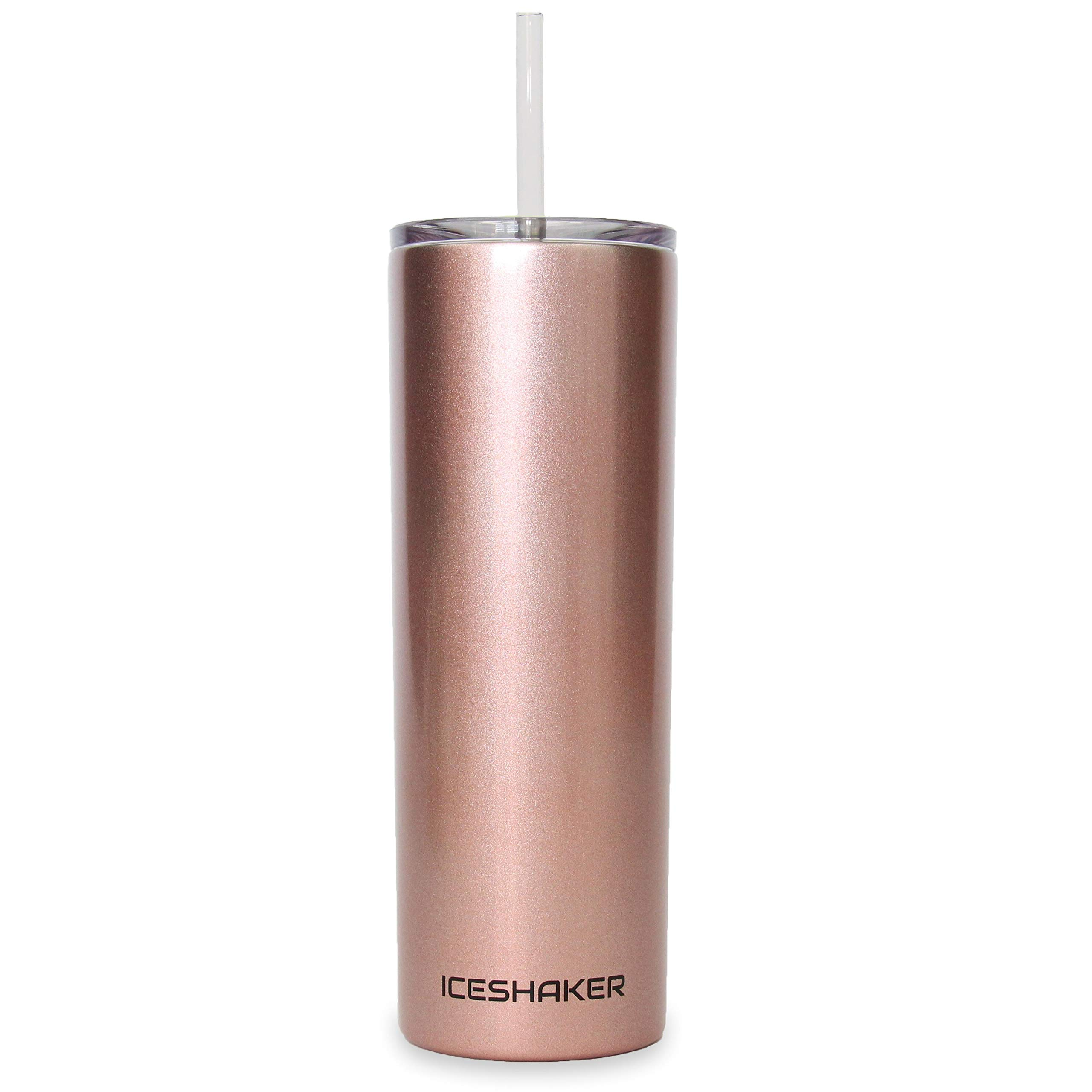 Ice Shaker 20 oz Skinny Tumbler (Rose Gold)- Stainless Steel Tumbler & Insulated Water Bottle With Straw - Vacuum Insulated Tumbler For Hot and Cold Drinks - Tumbler With Lid Holds Ice for 30+ Hours