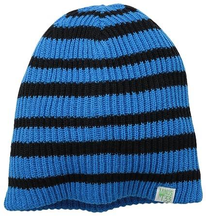 be056e6e869 Minus33 Merino Wool 6523 SB Reversible Beanie Azure Blue Black Stripes One  Size