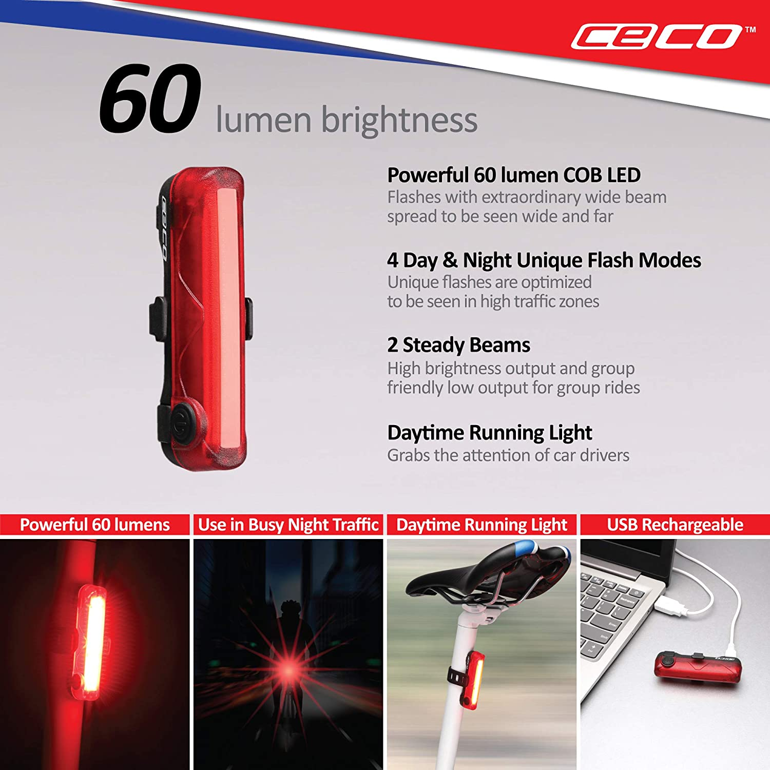 CECO-USA 60 Lumen USB Rechargeable Bike Tail Light – Super Wide Bright Model TC60 Bicycle Rear Light – IP67 Waterproof, FL-1 Impact Resistant – COB LED Red Safety Light – Pro Grade Bike Tail Light