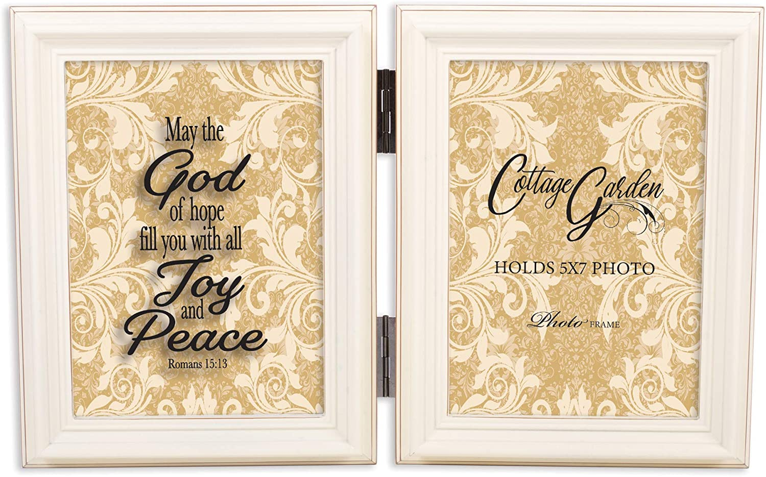 Cottage Garden Fill Joy Peace Ivory Pearl 5 x 7 Wood Hinged Double Tabletop Photo Frame