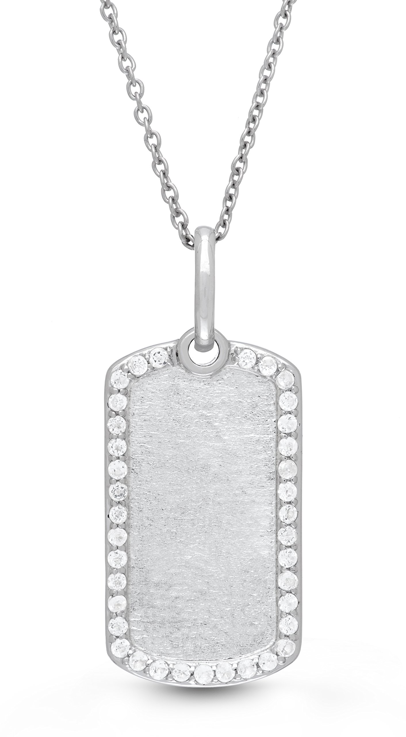 Sterling Silver-White Topaz-Custom Photo Locket Dog Tag -22-inch chain-The Meagan by With You Lockets