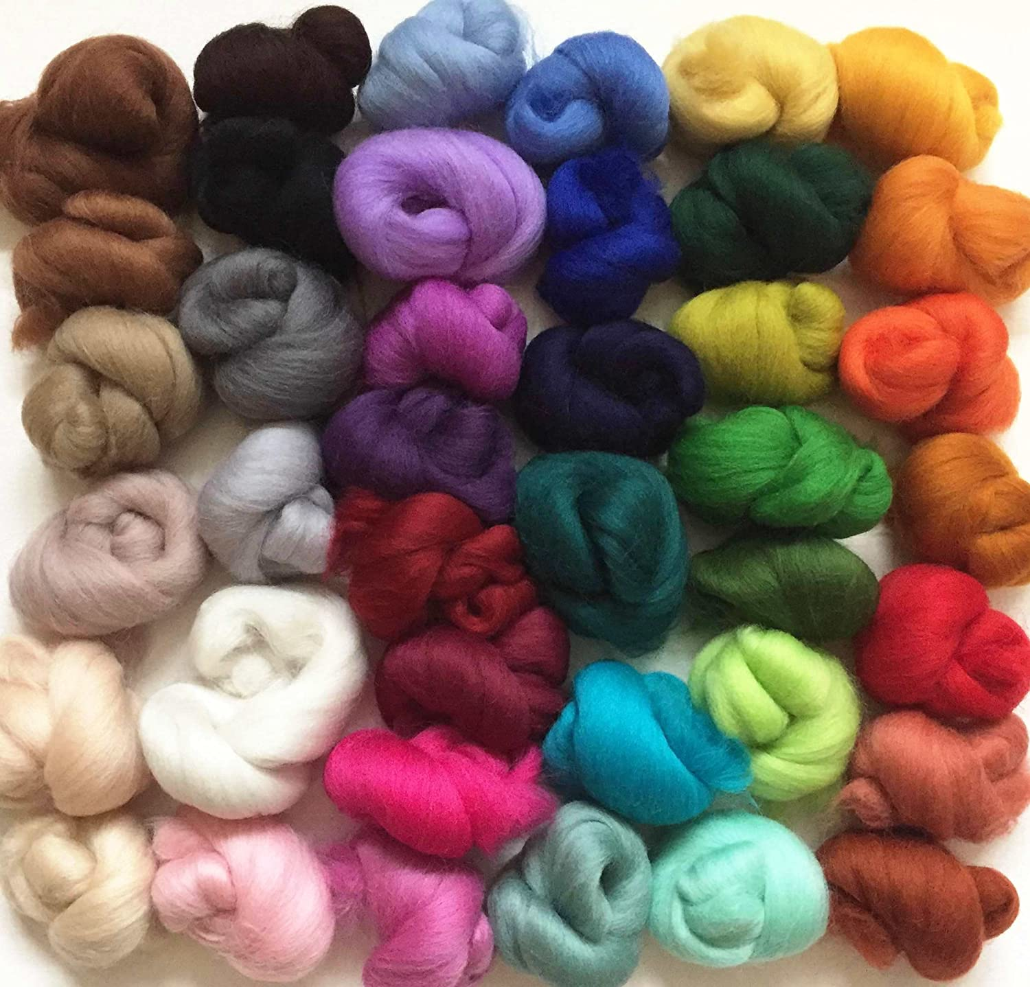 40 colour pack of Merino Wool Tops for Needle/Wet Felting approx 120 gms Molten Designs