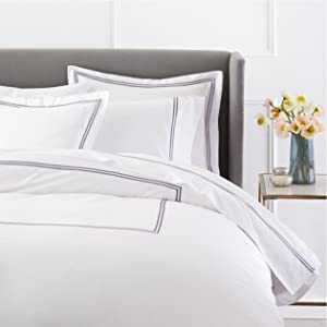 Pinzon 400 Thread Count Egyptian Cotton Sateen Hotel Stitch Duvet Cover - King, Silver Grey