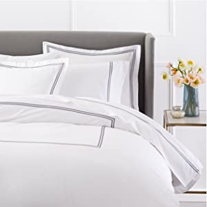 Pinzon 400 Thread Count Egyptian Cotton Sateen Hotel Stitch Duvet Cover - Full or Queen, Silver Grey