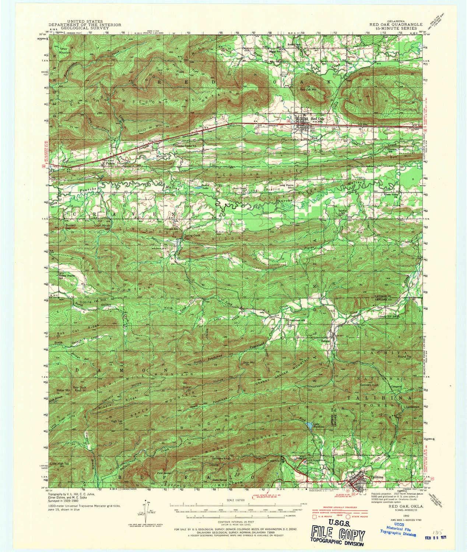 Amazon.com : YellowMaps Red Oak OK topo map, 1:62500 Scale ...