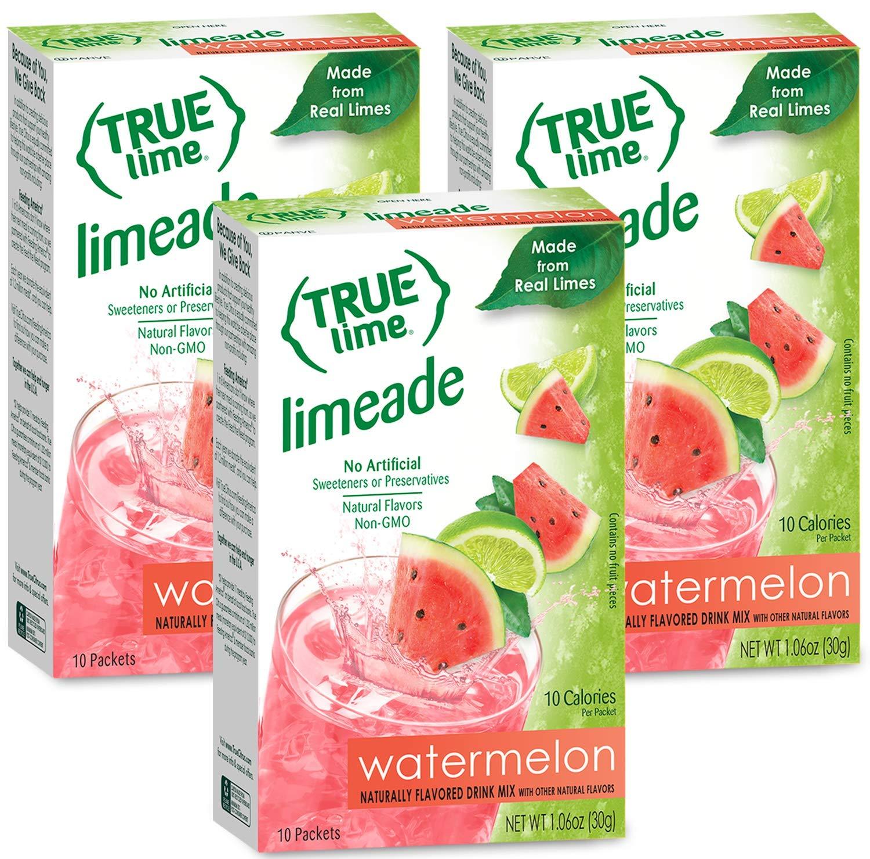 NEW FLAVOR: True Lime | WATERMELON AUQUA FRESCA (Pack of 3) 10ct each box. True Lemon | True Citrus NON GMO and NO GLUTEN