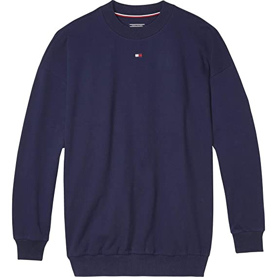 29d2f027 Tommy Hilfiger Flag Crew Neck Track Top - Navy: Amazon.co.uk: Clothing