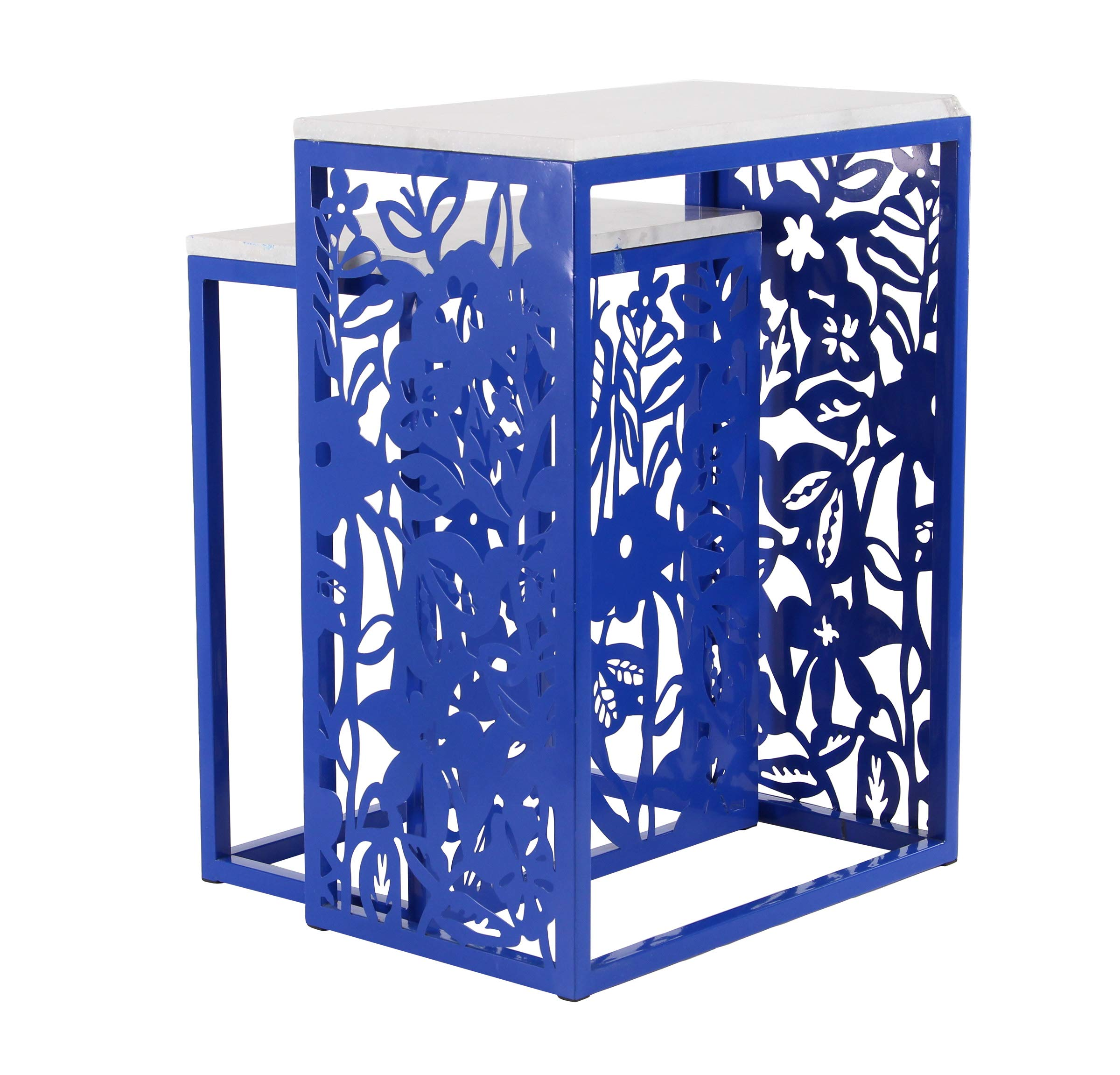 Deco 79 Modern Floral Nesting End Tables, 12''W x 27''H, White, Blue by Deco 79