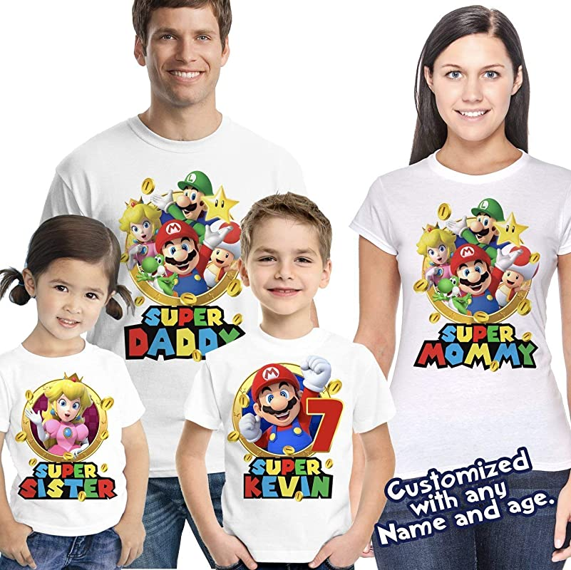 Giant Super Mario Custom T Shirt Party Favor Birthday Gift Personalize Name