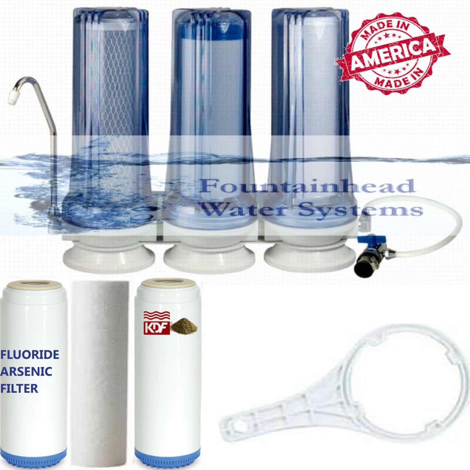 FOUNTAINHEAD 3 STAGE COUNTERTOP WATER FILTER FLUORIDE/CARBON/KDF FAUCET ADAPTER