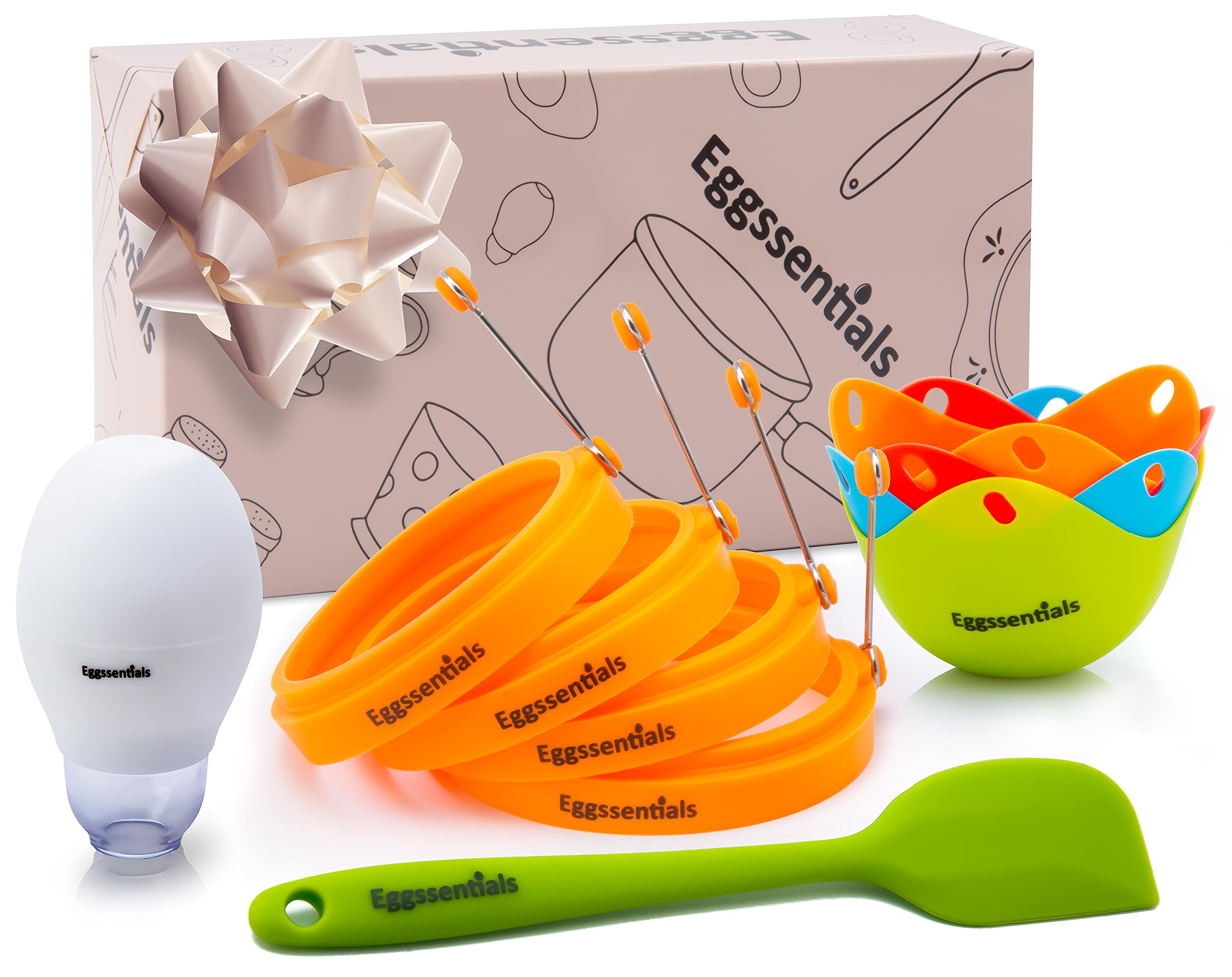 Eggssentials 4 Egg Ring Set | Egg Rings Kit includes 4 Egg Poacher Cups | 1 Egg Yolk Separator| 1 Silicone Spatula| In Gift Box