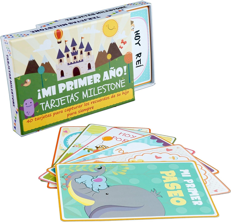 Tarjetas de Recuerdo Milestone de Bebé (ENGLISH) – 40 Coloridas Ilustradas Cartas de Desarrollo con Caja de Regalo - Momentos y Eventos Especiales de Recién Nacido - Baby Shower y Cumpleaños