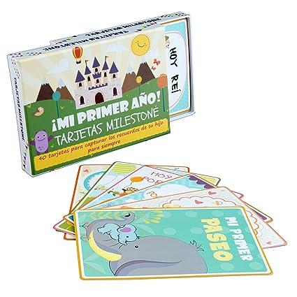 Tarjetas de Recuerdo Milestone de Bebé (ENGLISH) – 40 Coloridas Ilustradas Cartas de Desarrollo con Caja de Regalo - Momentos y Eventos Especiales de ...