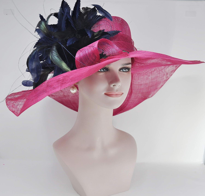 41f6bd71d3 Hot Pink Fuschia w Navy Blue Feather Flower Kentucky Derby Hat ...