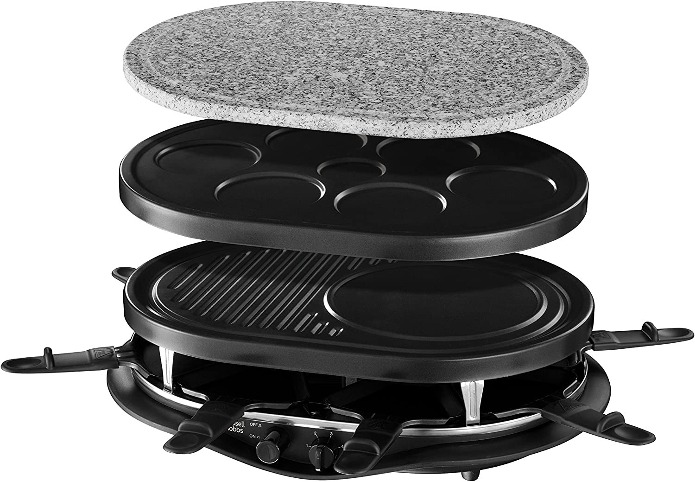 Russell Hobbs 21000-56 Appareil Raclette Multifonction Fiesta 1200W 8 Personnes, Pierre à Griller, Plaque Grill, Plaques Crêpes, Compatibles Lave-Vaisselle