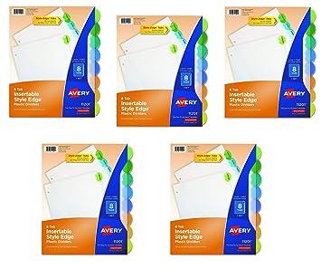 Amazon avery insertable style edge plastic dividers 8 avery insertable style edge plastic dividers 8 multicolor tabs case pack of 5 saigontimesfo