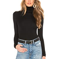 just quella Womens Basic Comfy Soft Long Sleeve Slim Fit Turtleneck Tee Shirt Layer Blouse 100% Modal