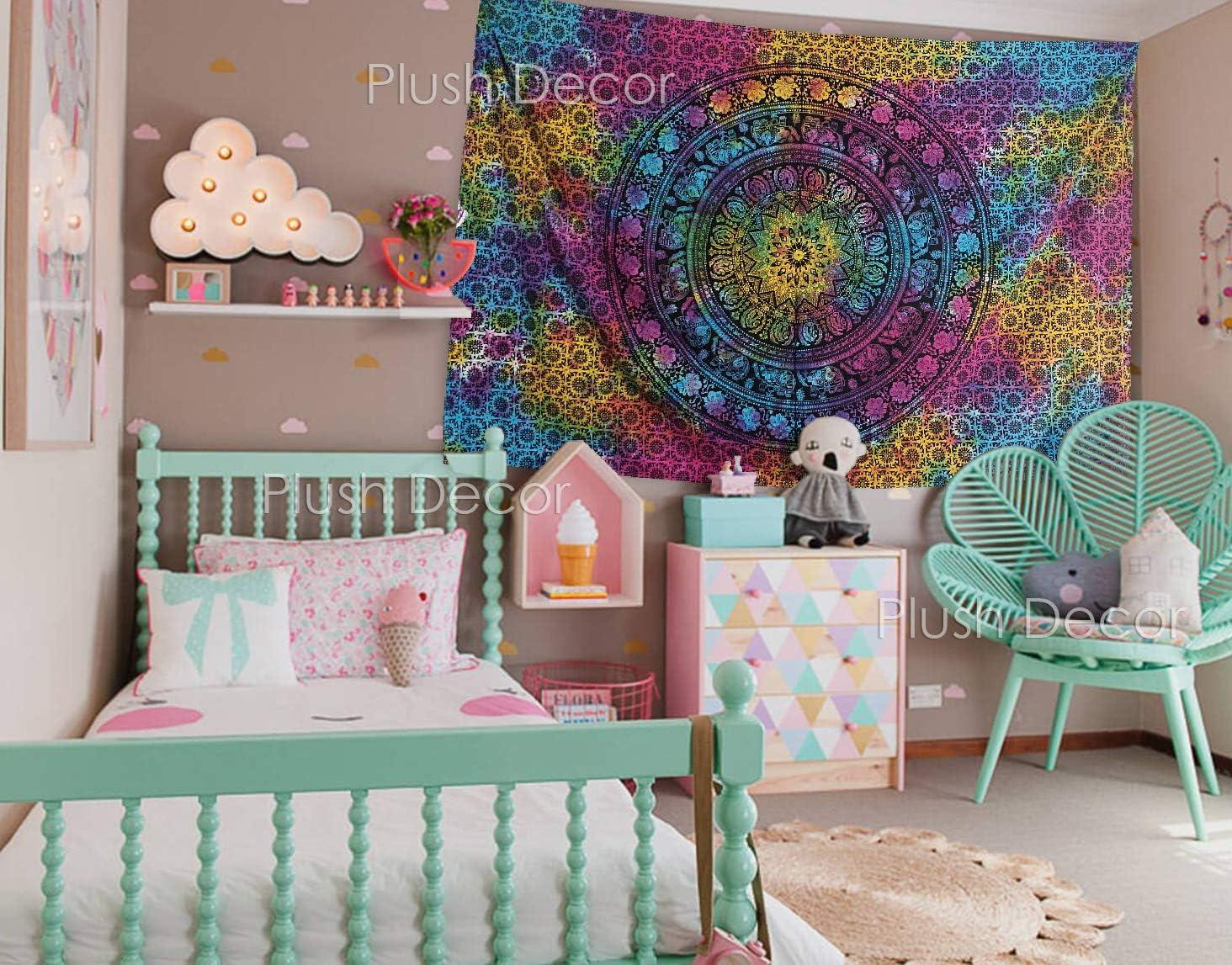 Multi Tie Dye Twin Tapestry Elephant Mandala Wall Hanging Tapestries Bohemian Bedspread Hippie Bedsheet Beach Throw Table Cover
