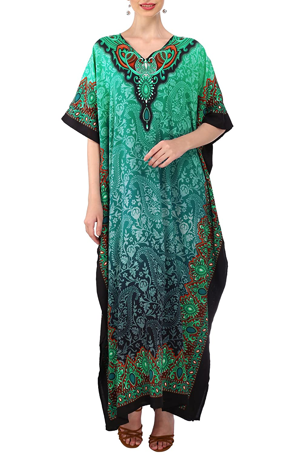 Cottagecore Dresses Aesthetic, Granny, Vintage Miss Lavish London Ladies Kaftans Kimono Maxi Style Dresses Suiting Teens to Adult Women in Regular to Plus Size $17.99 AT vintagedancer.com