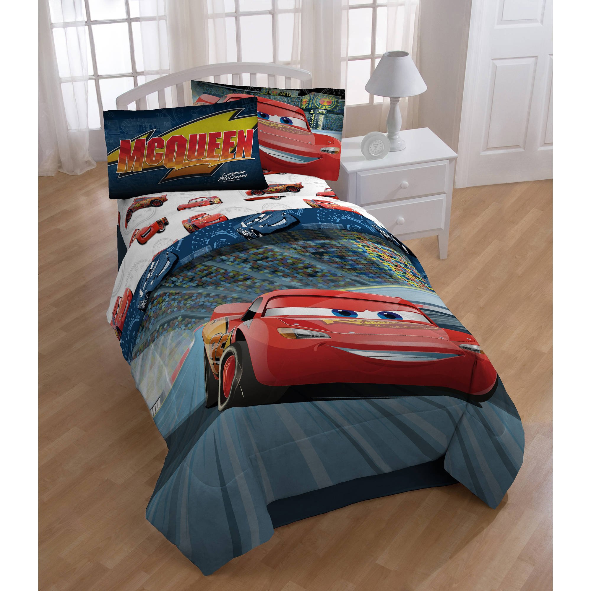 A&L 1 Piece Boys Red Cars 3 Comforter Twin Full, Blue Kids Bedding Lightning Mcqueen Car Speedometer Jackson Storm Print Novelty Auto Racing Animated Comedy Movie Character Pattern