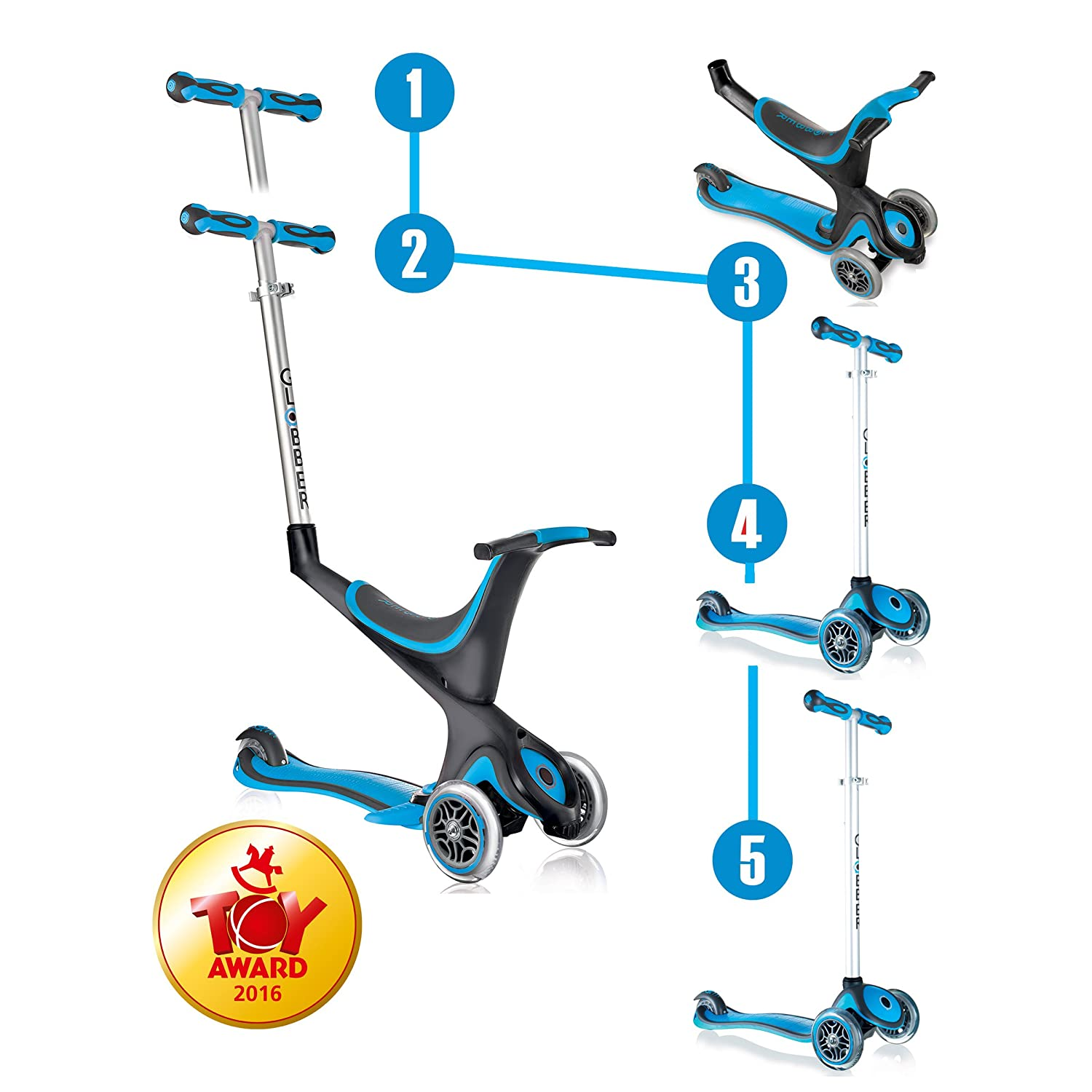 Globber MY FREE 5 in 1 Scooter (Light Blue) Globber Scooters 455-106