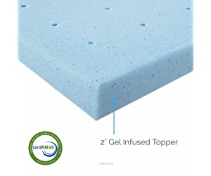 LUCID 2 Inch Gel Infused Ventilated Memory Foam Mattress Topper