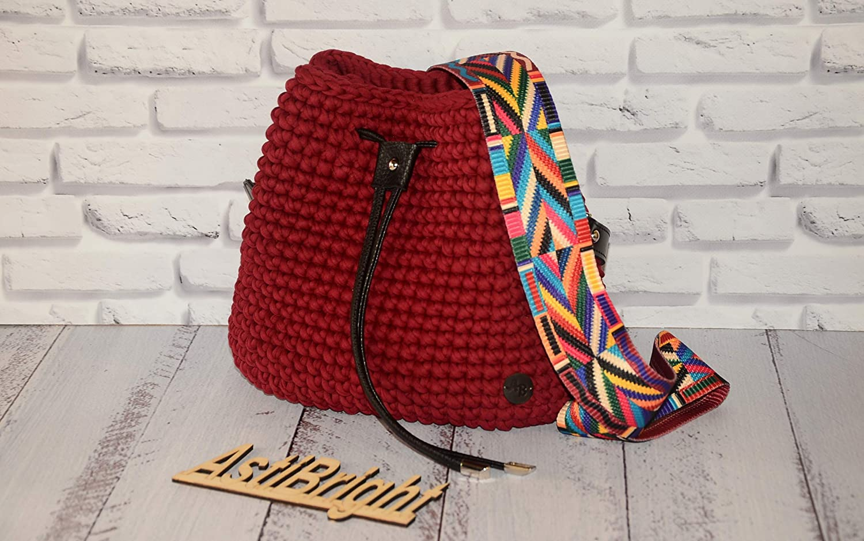 Amazoncom Burgundy Crochet Bucket Bag Red Crochet Bag Valentino