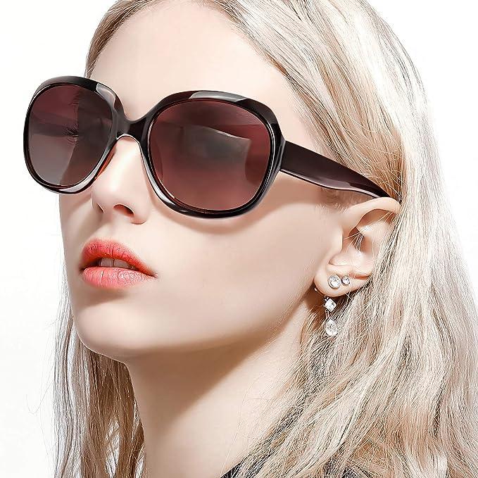 FIMILU Gafas de Sol Extragrandes para Mujer, Lentes UV400 Polarizadas Vintage, Gafas de Sol Clásicas