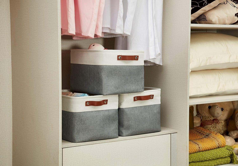 DECOMOMO Foldable Storage Bin Collapsible Sturdy Cationic Fabric Storage Basket Cube W//Handles for Organizing Shelf Nursery Home Closet Slate Grey and White, Extra Large - 15.8 x 12.5 x 10 3-Pack