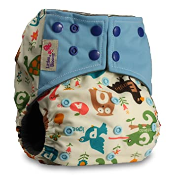 Littles /& Bloomz Fastener: Hook-Loop Set of 1 Pattern 47 Reusable Pocket Cloth Nappy with 1 Bamboo Charcoal Insert