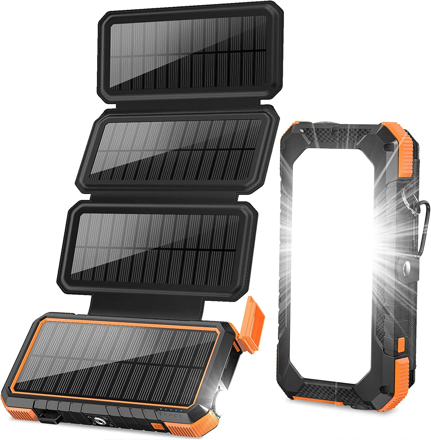 Outdoor Power Bank 18W Fast Charging 20,000mAh Solar Powered Charger with Camping Light//Flashlight//Compass Type C USB Charger 3 Outputs//Dual Inputs Orange BLAVOR Solar Charger with Foldable Panels