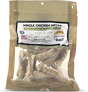Fresh Is Best Freeze Dried Raw Whole Chicken Necks, Made in The USA, Single Ingredient Natural, Healthy Dog & Cat Treats (Chicken Necks)