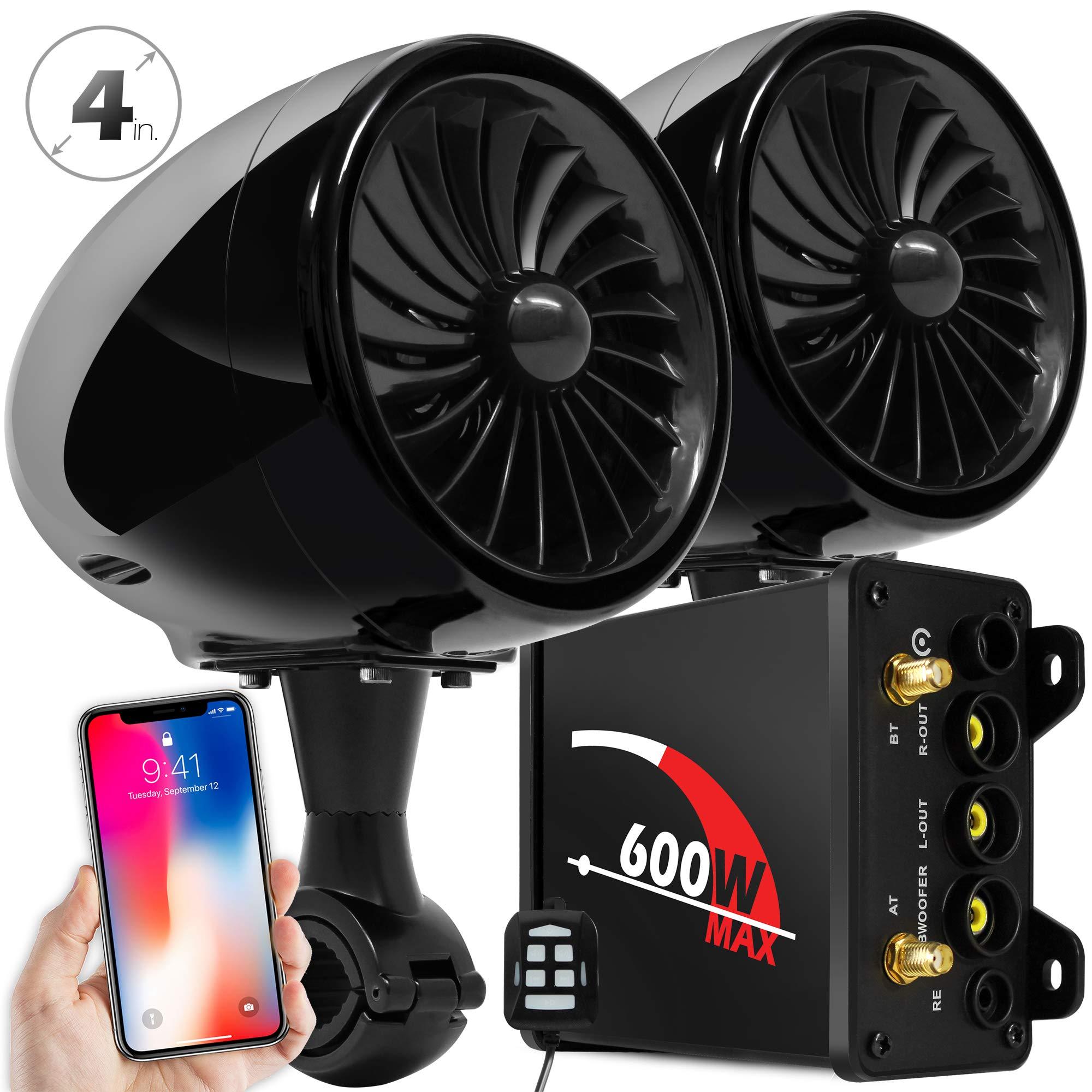Goldenhawk 600w Amplifier 4 Full Range Waterproof Bluetooth Audio Motorcycle Stereo Speakers 7 8