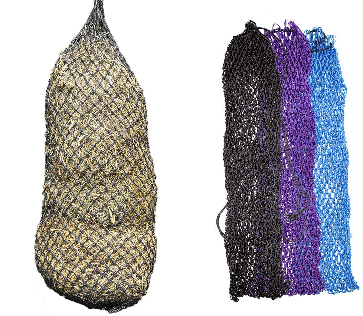 Derby Originals 56'' XL Super Slow Feed Poly Rope Hanging Full Bale Hay Net Holds 12-16 Flakes (56'', Black) by Derby Originals