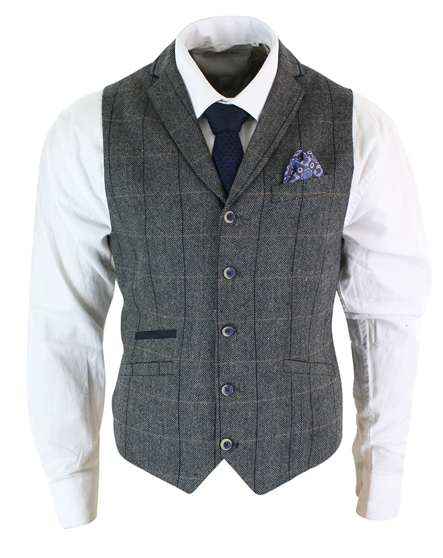 Mens Classic Tweed Herringbone Check Brown Grey Slim Fit Vintage Waistcoat Gilet