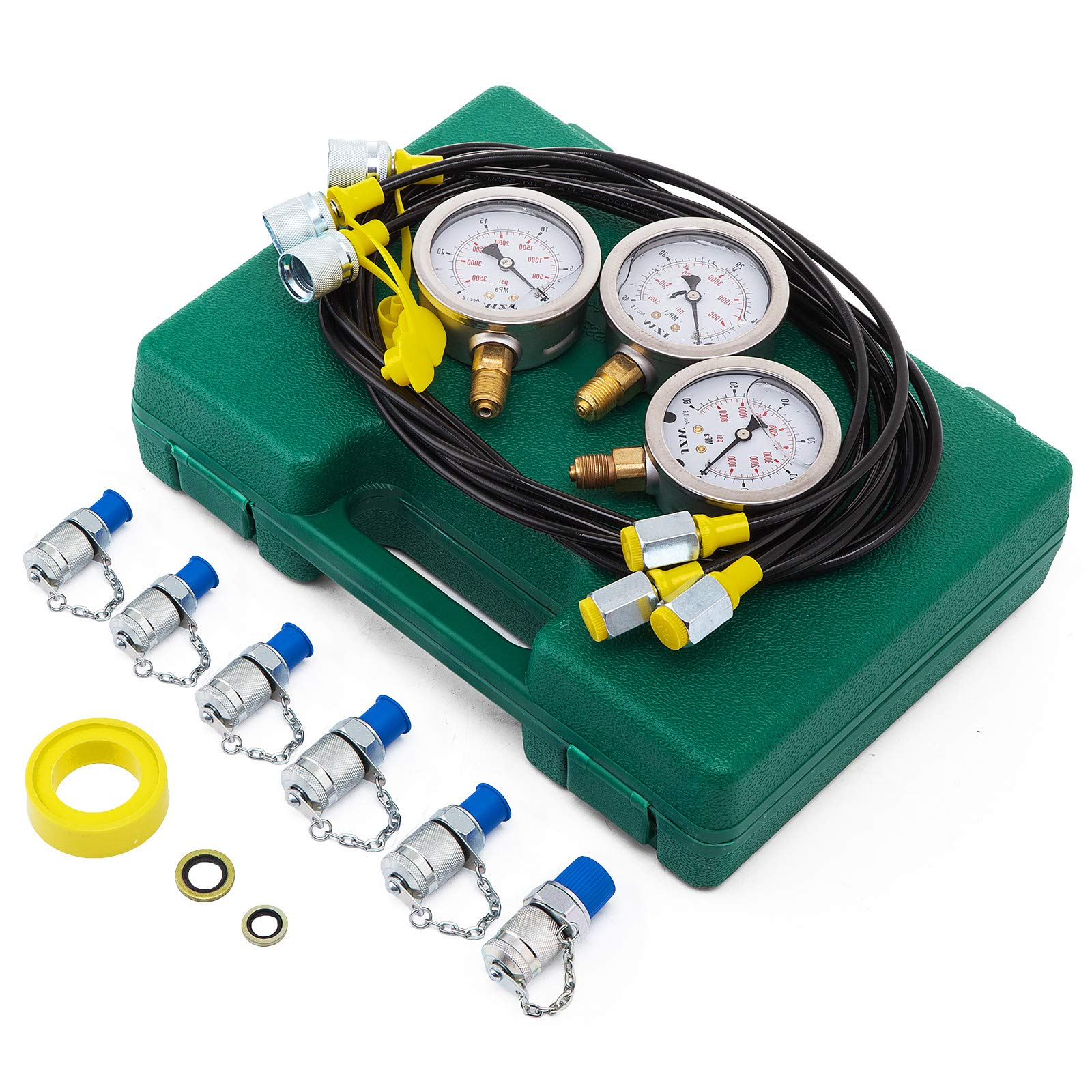 VEVOR Hydraulic Pressure Gauge Test Kit with 6 Couplings Excavator Hydraulic Pressure Test Kit 25/40/60Mpa Hydraulic Pressure Test Coupling Kit for Excavator Construction Machinery 9000 PSI