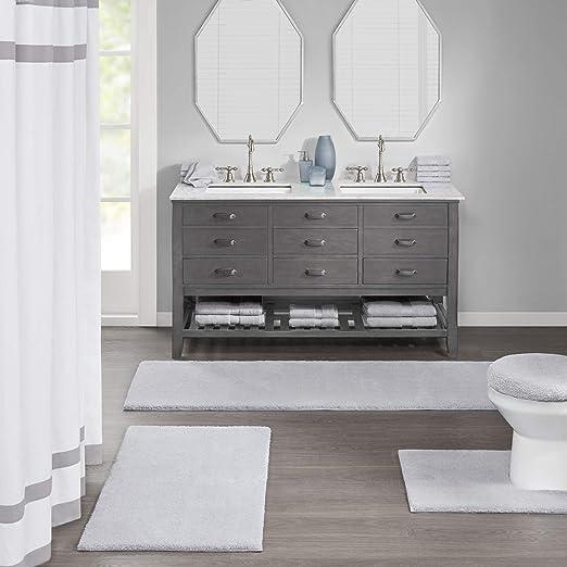 20X30 Madison Park Signature Marshmallow Mildew Resistant Bath Mat Ivory Luxury Solid Washable Microfiber Bathroom Rugs
