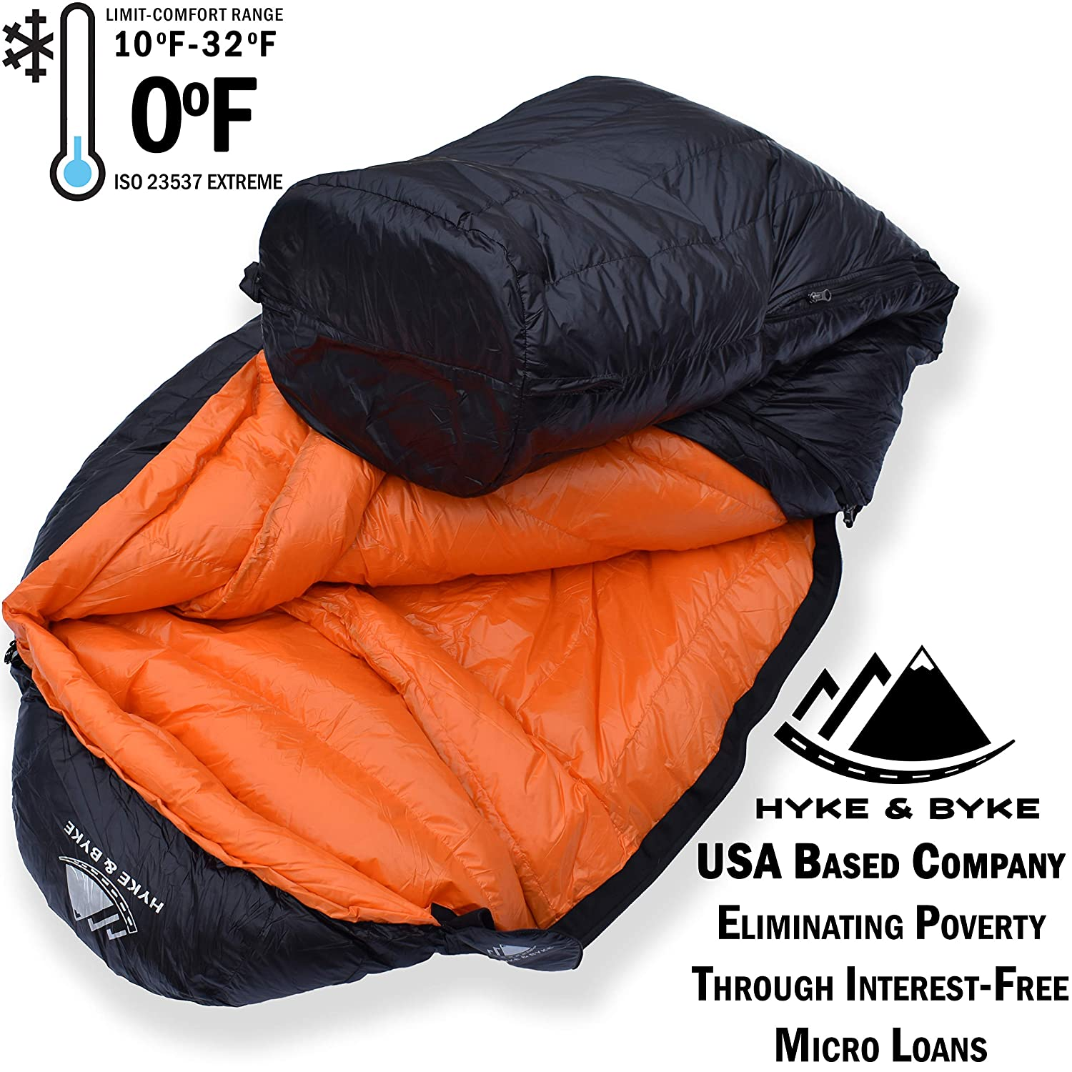 Hyke Byke Eolus 0 Degree F 800 Fill Power Hydrophobic Goose Down Sleeping Bag with ClusterLoft Base – Ultra Lightweight 4 Season Men s and Women s Mummy Bag Designed for Backpacking