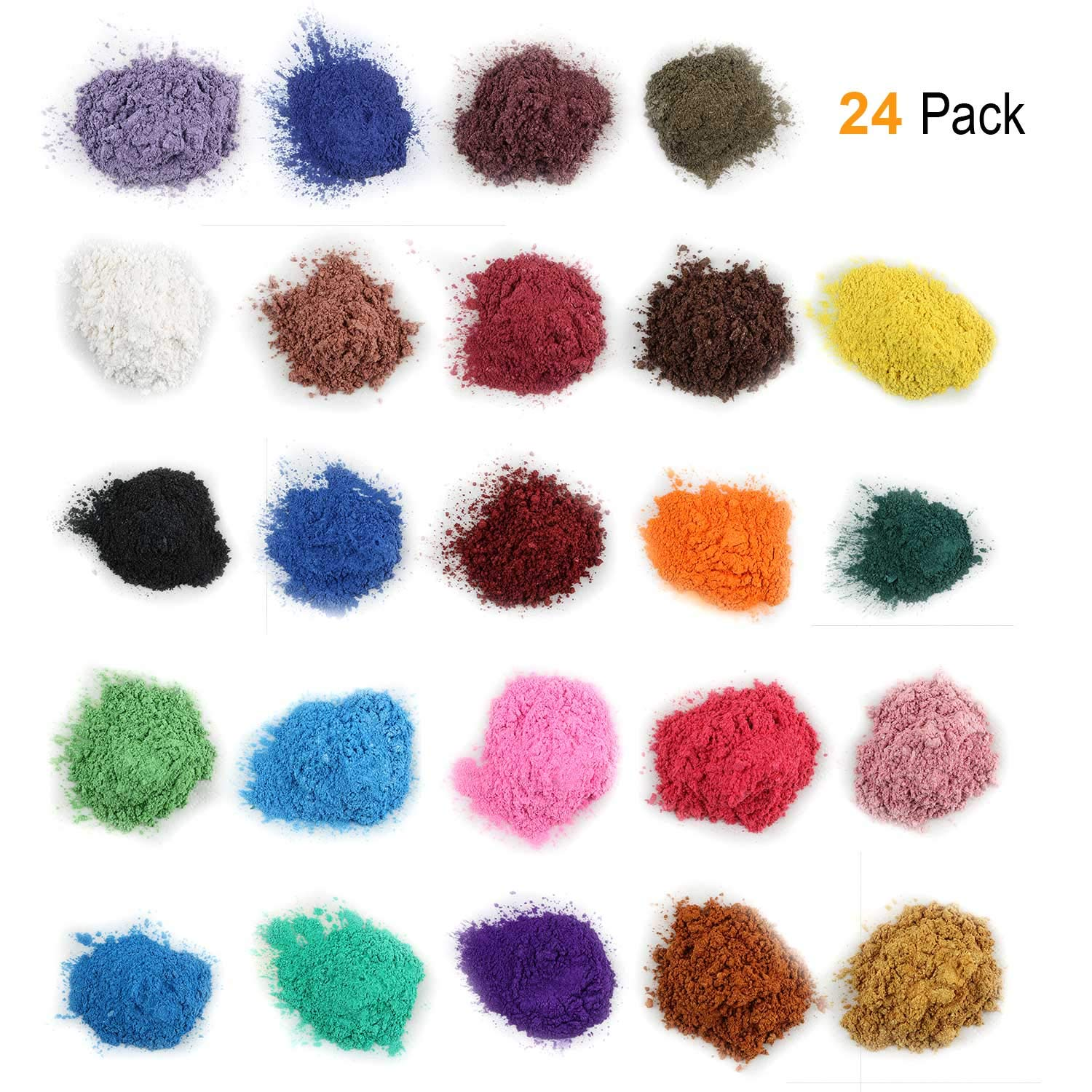 Mica Powder for Bath Bombs [0.18 oz 24 Bags], Cosmetic Grade Soap Making Colorant Pigments for Candle Making, Blush, Eye Shadow, Craft Projects, Nail Art, Resin Jewelry, Blush, Craft Projects