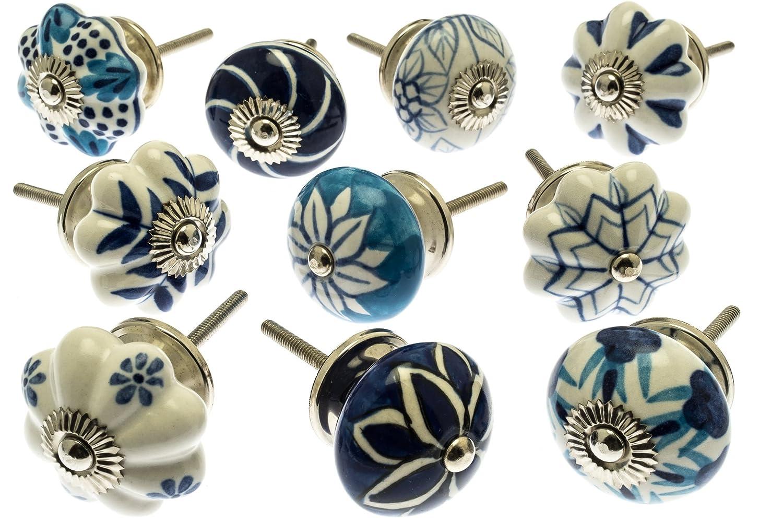Gemischt Set mit blau & weiß Schrankknöpfe aus Keramik x 10 (MG-203) 'Vintage-Chic' TM Produkt Mango Tree