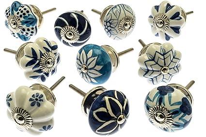 Set misto pomelli di ceramica blu e bianca per cassetti e armadietti ...