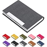 Business Card Holder, Business Card Case Luxury PU Leather & Stainless Steel Multi Card Case,Business Card Holder Wallet Credit Card ID Case/Holder for Men & Women. (Gray)