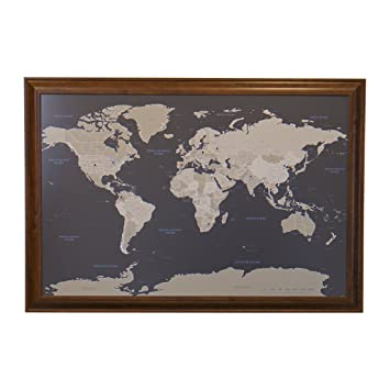 Amazon earth toned world push pin travel map with brown frame earth toned world push pin travel map with brown frame and pins 24 x 36 gumiabroncs