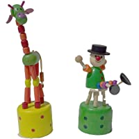 Handcrafted Wooden Giraffe and Joker Combo , Premium Toy - Jodi (Assorted and Multicolored)